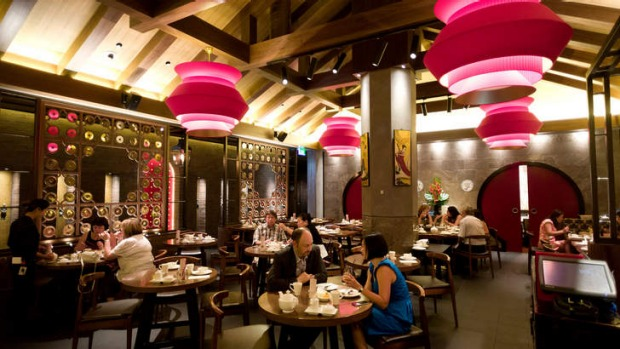 Man Tong is a proper restaurant with a properly expensive fitout of red lanterns, slate, carved screens and Chinese statuary.