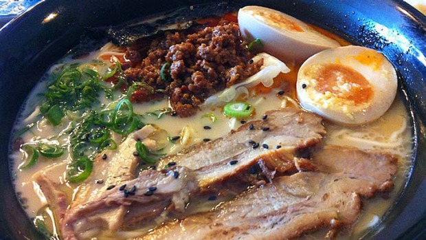 For something different ... Raku's red ramen, which comes with a scoop of spicy minced beef.