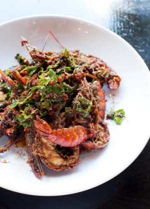 Stir fried yabbies with cricket sauce from Billy Kwong.