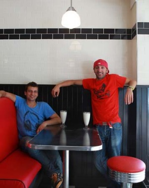 Owners Ioannis Benardos and Giuliano Colosimo at Bernie's Diner in Moss Vale.