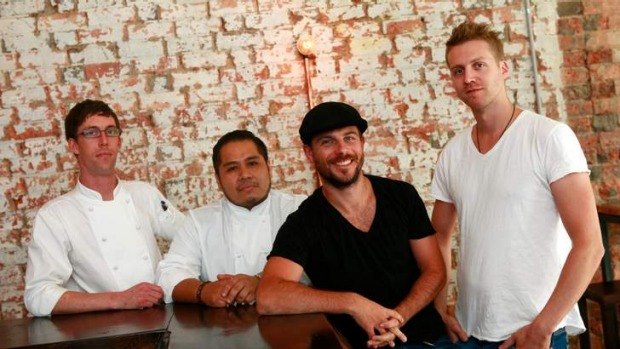 Team Piqueos (L to R): head chef Blair Williams, sous chef Daniel Salcedo, and owners Shaun Burke and Dave Mills.