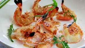 Grilled prawns with yuzu.