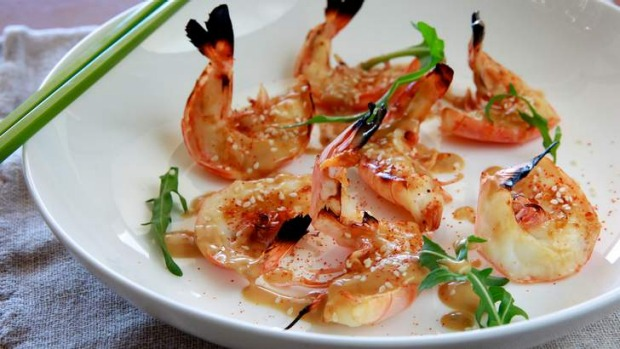 Grilled prawns with yuzu dressing.