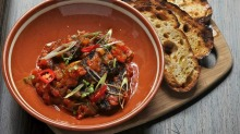 Boudin noir with tomatoes and chilli.