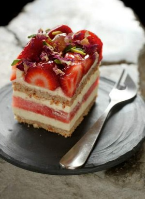 Sweet ending: Black Star pastry's strawberry watermelon cake with rose-scented cream cake.