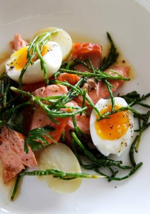 Samphire has a salty seawater flavour that works perfectly in this smoked trout recipe.