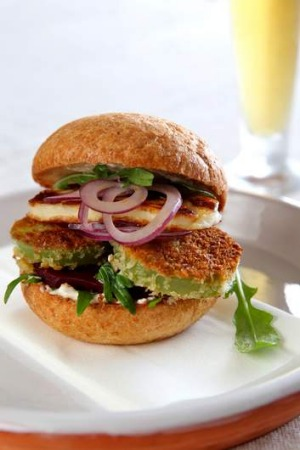 Jill Dupleix's fried green tomato burger. Merchandise: By Joost from byjoost.com.