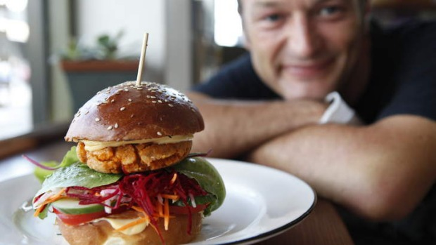 Chef Matthew Andrews and his tremendous, tasty  tofu burger.