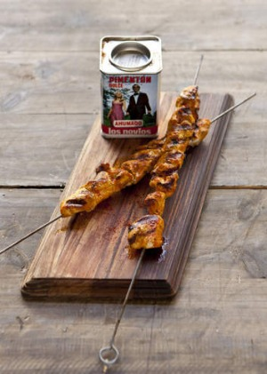 Festive: Chicken skewers marinated with paprika and oregano.