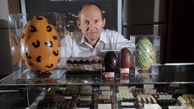 Owner of Lindsay and Edmunds chocolates Peter Edmunds in his Canberra Centre store.