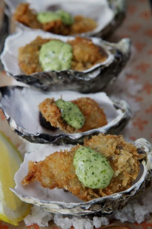 Go-to dish: Deep-fried oysters d'jour with Rockefeller mayo.