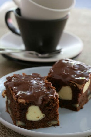 Jane and Jeremy Strode's cream cheese, chocolate and coffee brownies.