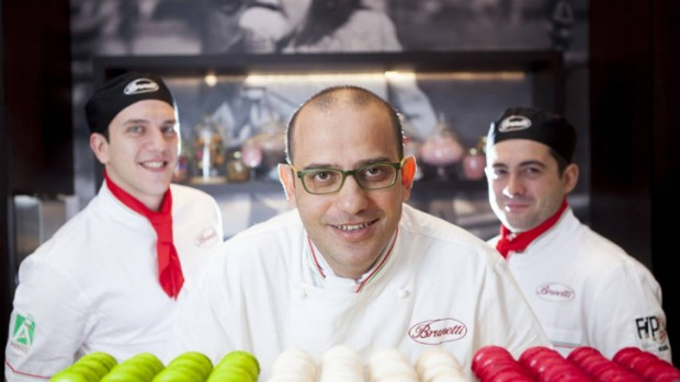 Brunetti executive savoury chef Giuseppe Santoro (centre), Francesco Inga (left) and Valerio Mollica, who were among 20 ...