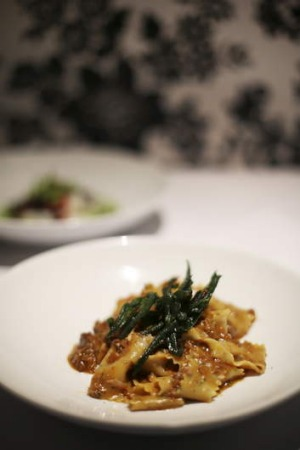 Melt-in-the-mouth: Thyme pappardelle with duck ragout and porcini mushrooms.
