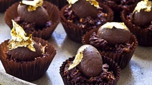Hazelnut chocolate nests. Karen Martini EASTER recipes for Epicure and Good Food. Photographed by Marina Oliphant. ...