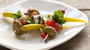 Gilda, skewered white anchovies, guindilla pepper and green olives. Frank Camorra FOOD ON STICKS recipes for Spectrum ...
