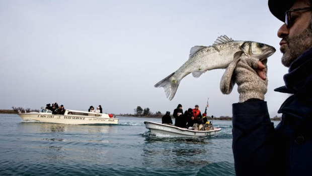Chef Massimo Bottura with a catch.