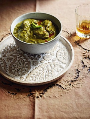 Traditional dish: Green chicken curry recipe in <em>From India</em>.