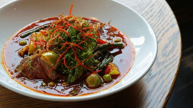 Hot plate: Longrain's jungle beef curry with grilled beef, wild ginger, pea eggplants and holy basil.