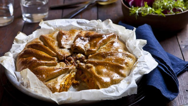 Pumpkin and feta pie with olive-oil pastry.