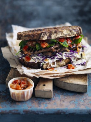 Neil Perry's steak sandwich with coleslaw and tomato chilli relish.