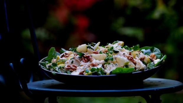 Smoked trout and pear salad.