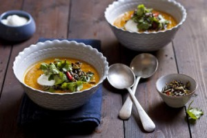 Roasted root vegetable soup with cinnamon and ginger.