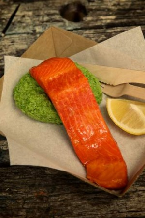 Go-to dish: Hot-smoked ocean trout with green pea mash.