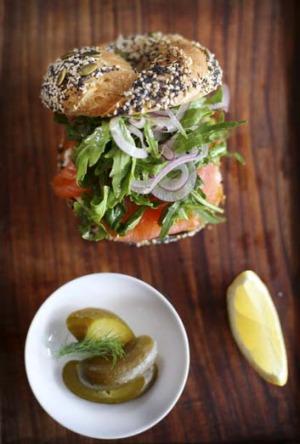 Recommended: Smoked Lox, onion, capers, rocket and cream cheese on a seeds and spices bagel.