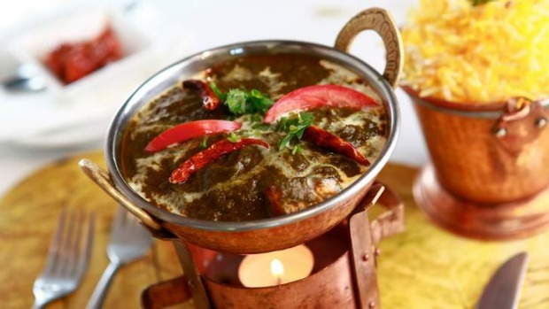 Spinach dishes, such as the saag paneer, are a specialty.