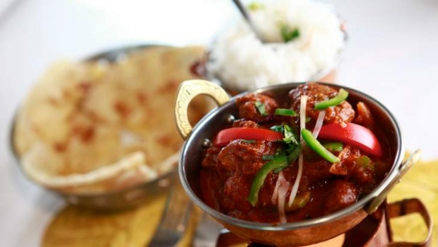 Lamb curry with naan cooked fresh in the tandoor.