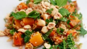 Quinoa salad with pumpkin and hazelnuts.