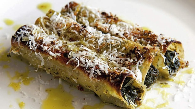 Fresh. Justin North's cannelloni of silverbeet with burnt butter and parmesan. SMH THE (SYDNEY) MAGAZINE Picture by ...