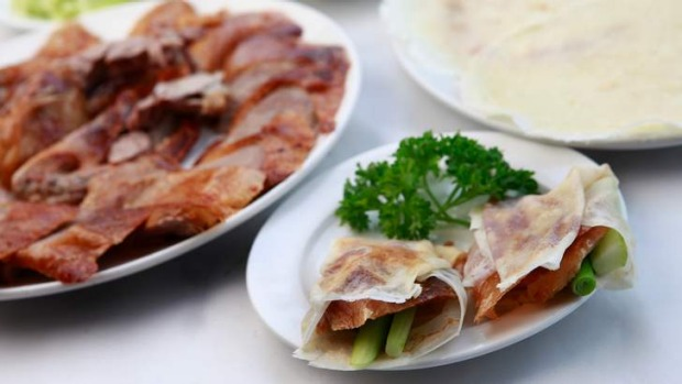Crispy golden, crisp-skinned Peking duck.