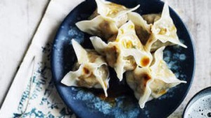 Wontons with prawn and chilli oil.