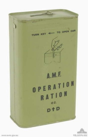 The green World War II ration tin.