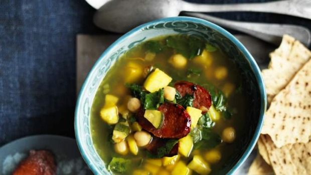 Spanish style chorizo, saffron and chickpea soup will warm you through and through.