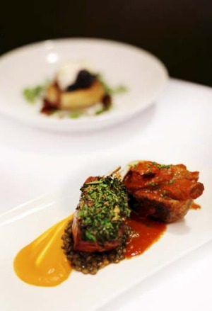 Recommended ... Herb-crusted lamb rack with tomato- braised lamb shank served in a potato cup.