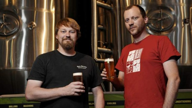 Cheers: Brewers Jason Oliver and Marcus Cox at Thunder Road Brewery.