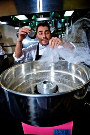 Jordi Roca, a dessert chef at  Spanish restaurant El Celler de Can Roca makes cotton candy for a dish while visiting Sydney.