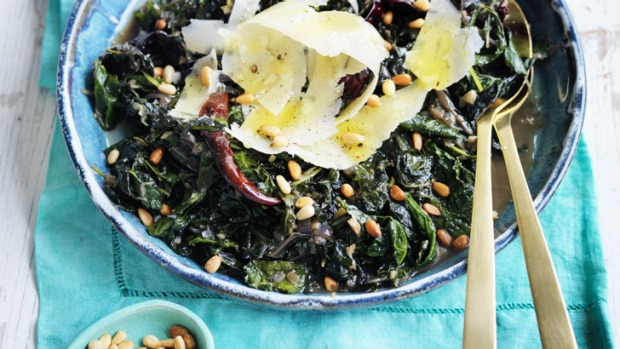 Neil Perry's braised cavolo nero and silverbeet.