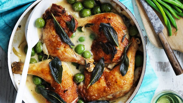 Neil Perry's chicken with olives and sage.