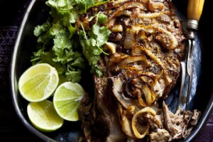 Slow-baked lamb shoulder with garam masala.