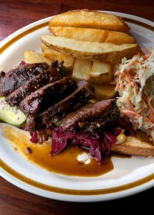 The Spotted Mallard's beef-cheek Reuben with hand-cut chips.