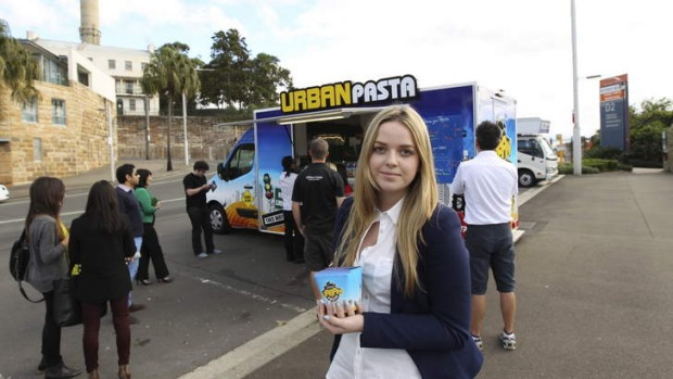 A cheap lunch option ... Isabelle Hampson, a regular customer of the Urban Pasta food truck.