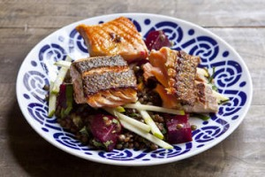 Lentils, beetroot, apple, grilled salmon.
