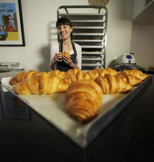 Croissants fresh out of the overn at Lune Croissanterie.