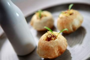 Tonka restaurant in Melbourne CBD. Dish:Pani Puri. 15 May 2013.