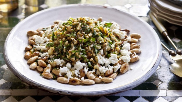 Barley, roasted cauliflower, almond and feta salad.