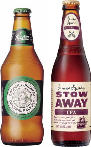 Coopers Pale Ale and James Squire Stow Away IPA.
